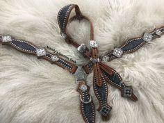 Crackle grey floral on chestnut leather