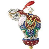 "Christopher Radko Ornamental Mammoth Circus Elephant Ornament - 6.5""H."