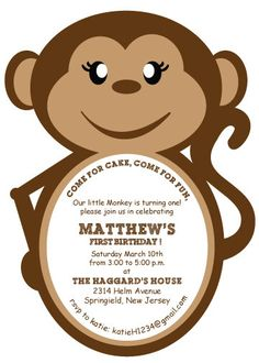 DIY Monkey Invitations by ZooCutiePrintables on Etsy, $10.00