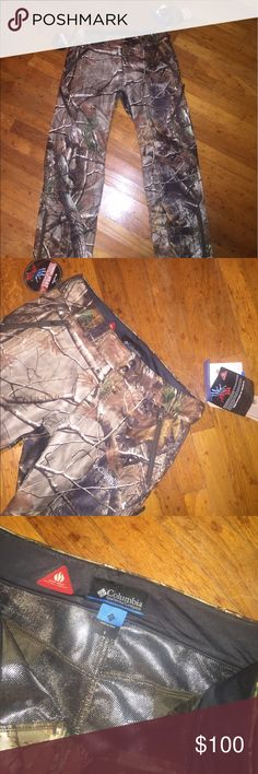 Men's Columbia camo pants brand new Brand new with tags men's realtree camo Columbia pants. Great for cold weather. Light weight but very warm. Columbia Pants