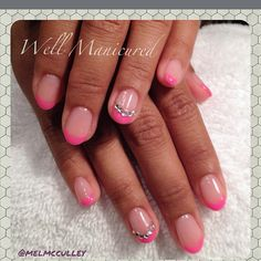 Sweet #Summer mani with #pink French tips in the new #Gelish #Neon #MakeYouBlinkPink. #AllAbouttheGlow #nails #nailart #naildiva #nailbling #bling #diamonds #frenchmanicure #nailharmony #wellmanicured #southbay #manhattanbeach #manicure #pretty #pro #nailartist #nailaddict #freehand #artist #prettyinpink #gels #gelmanicure #frenchtips #almondshapenails #Padgram