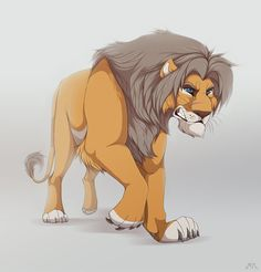 Sevota by Antrague Disney Drawings, Cartoon Drawings, Animal Drawings, Lion King Fan Art, Lion Art, Angry Cartoon, Cartoon Cats, Anime Lion, Lion Drawing