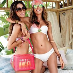 Beach must-haves: Bikinis, best friends something to keep your drinks cold.