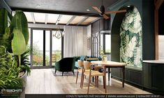 Asian style interiors with green and teal decor. Featuring industrial contemporary decor, a sophisticated interior design, and a traditional Asian inspired home Asian Interior Design, Interior Styling, Plywood Furniture, Furniture Ideas, Apartment Interior, Living Room Interior, Eames, Asian Style Bedrooms, Unique Ceiling Fans