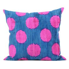 Image of Blue & Pink Silk-Velvet Pillow Ikat Pillows, Blue Throw Pillows, Velvet Pillows, Toss Pillows, Decorative Pillows, Accent Pillows, Pink Home Decor, Modern Pillows, Vintage Pillows