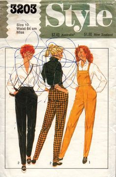 a7250d28184 Style 3203 Womens Dungarees or Tapered Pants 80s Vintage Sewing Pattern  Size 10