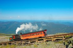 Cog Rail Train on Mount Washington, New Hampshire. This is the train that takes you to the top of the mountain if you are brave enough to ride it.