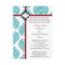 空色のTiffanyのダマスク織の結婚式の招待 カスタム招待状 作者:ForeverAndEverAfter