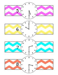 Telling Time Activity-children have wrist band watches with different times on and have to get themselves in order, from earliest to latest time.