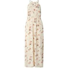 Dorothy Perkins **Vero Moda Cream Floral Print Maxi Dress ($69) ❤ liked on Polyvore featuring dresses, cream, floral print dress, floral print maxi dress, maxi dresses, pink maxi dress and creme dresses