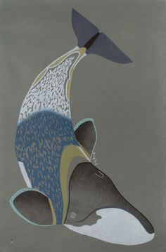 "Tim Pitsiulak, stonecut and stencil, ""Arvik Amuasijartuq"" (Bowhead in Amautik)"