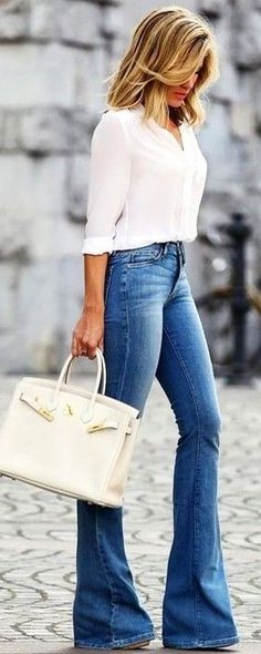 #fall #trending #outfits | White Blouse + Flares
