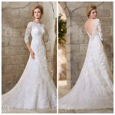 This classic lace wedding gown features a beautiful scalloped bateau neckline, delicate sleeves, and deep V back. Marry & Tux Bridal, Marry & Tux Bridal Shoppe, Marry & Tux Nashua, NH, Marry & Tux, Marry and Tux