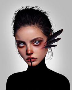 Laura H. Rubin is a digital artist and illustrator based in Bern, Switzerland. Lauren describes herself as a Visual FX Artist & Graphic Designer Digital Art Girl, Digital Portrait, Portrait Art, Bizarre Kunst, Bizarre Art, Art Sketches, Art Drawings, Drawing Tattoos, Chalk Drawings
