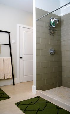 Guest Bath With Glass Subway Tile