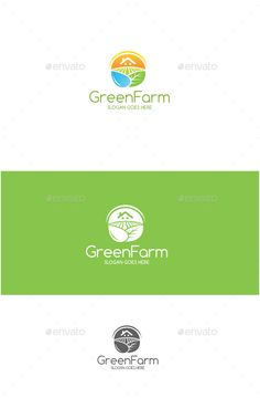 Green Farm Logo -AI and EPS file -CMYK mode -100 vector and resizable -Easy to edit color and text -Green Farm Logo(Color) -Gre