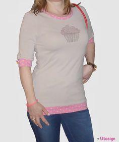 T- Shirt, beige, Capcake, Strass