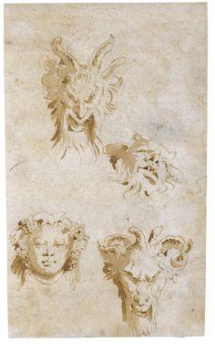 Giovanni Battista Tiepolo – A SHEET OF FOUR HEAD STUDIES: THREE SATYRS AND BACCHUS