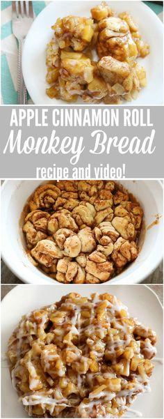 apple cinnamon roll monkey bread easy breakfast recipe,  holiday recipe,  quick,  kid friendly,  uses refrigerator cinnamon roll dough!