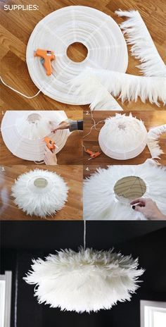 DIY Chic White Feather Chandelier. This feather chandelier really tops off the look and feel of this dining space. Learn how to do