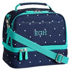 Gear-Up Navy Pin Dot Dual Compartment Lunch Bag