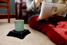 Chilling on the carpet, reading a paper without wondering where to set your coffee-priceless!!