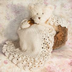 An heirloom crochet baby blanket adorned with beautiful handmade lace. Perfect for Baptism, Christening or a treasured baby shower gift to be handed down through generations. /Blanket Information *Made with incredibly soft 100% Consumer Product Safety Commission approved acrylic