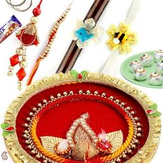 Picture of Velvet and Golden Lace kundan Shagun Thali with Sweets