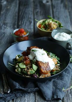 ... Salad with Sautéed Salmon & Lemon Yogurt Sauce with Fresh Oregano