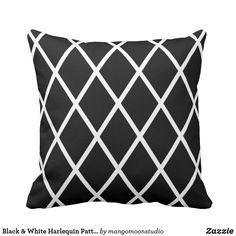 Shop Black & White Harlequin Pattern Throw Pillow created by mangomoonstudio. Black Cushion Covers, Harlequin Pattern, Pillow Design, Custom Pillows, Cushions, Throw Pillows, Black And White, Fabric, Color