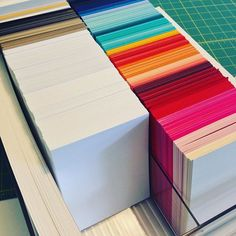 Hurray for more efficiency in my craft room!  A local printing company cuts my neenah cardstock into A2 bases for me but @skidoomomma inspired me to see if they'd cut colored cardstock!  Lo and behold, a rainbow in my craft room!!  And even better, he cuts it perfectly in about a minute and doesn't charge a penny! #smallbusinesslove #craftyorganization