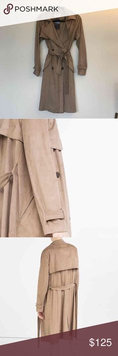 Zara Suede Trench Coat NWT, gorgeous coat. Sold out online, originally over $200. Zara Jackets & Coats Trench Coats
