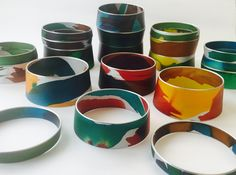 Painted push up bangles.....www.joannacampbell.co.nz Jewelry Making, Bangles, Jewels, Jewellery, Tableware, Bracelets, Dinnerware, Jewerly, Schmuck