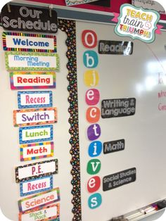 How cute is this?! Chalkboard Objectives Display: