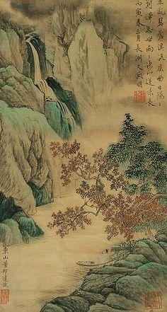 明代 - 文徵明 - 青綠山水             Painted by the Ming Dynasty artist Wen Zhengming.