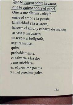 ...en el próximo poema en el próximo polvo. No sé si eres el amor de mi vida o mi mejor recurso poético- Elvira Sastre.