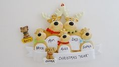 Personalized Reindeer Family of 5 with Dog or Cat Added