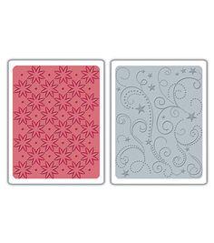 Sizzix Textured Impressions Embossing Folders-2PK/Flowers & Stars
