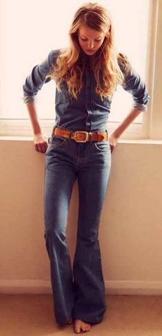 Modern American hippie allure in blue jean denim bell bottom pants with leather belt. For the BEST Bohemian fashion trends FOLLOW https://www.pinterest.com/happygolicky/the-best-boho-chic-fashion-bohemian-jewelry-gypsy-/ now