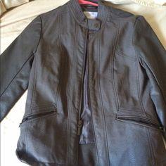 Grey leather jacket Grey leather jacket never been worn! Jackets & Coats