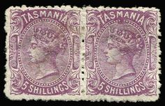 1871-78 Sidefaces Wmk TAS & Lines Perf 12 5/- mauve pair, SG #155a, large part og, Cat £900.  / MAD on Collections - Browse and find over 10,000 categories of collectables from around the world - antiques, stamps, coins, memorabilia, art, bottles, jewellery, furniture, medals, toys and more at madoncollections.com. Free to view - Free to Register - Visit today. #Stamps #MADonCollections #MADonC Queen Vic, Stamp Collecting, Tasmania, Postage Stamps, Auction, Victorian, Tapestry, Australia, Antiques