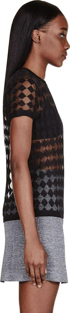 acne studios -black semi-sheer argyle bliss t-shirt.