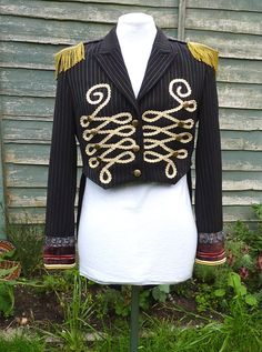 Upcycled black multi coloured pinstripe by Izanaecocrafts on Etsy