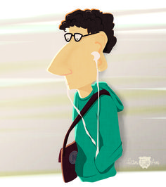 Guy on Bart - Vector Illustration by Heather Martinez