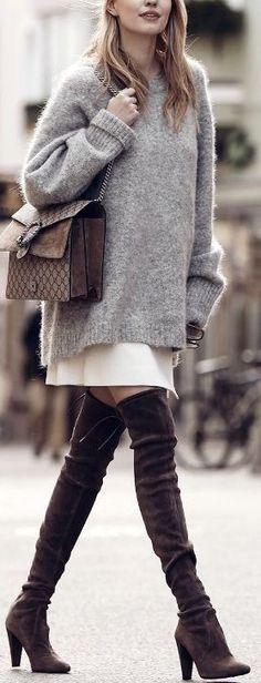 #fall #popular #outfits | Sweater Dress + Skirt + Overknees