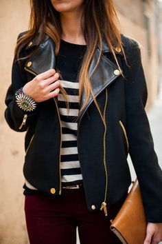striped shirt, plum jeans, leather jacket.. love this!