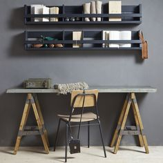 See my Inspiring Industrial Home Office Ideas which include an industrial office desk, concrete chair, black clamp lamp and wall wire storage shelving rack Industrial Home Offices, Industrial Workbench, Rustic Home Offices, Industrial Apartment, Industrial House, Industrial Interiors, Industrial Windows, Industrial Lighting, Industrial Furniture