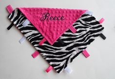 Zebra and Hot Pink minky dot Lovey  by TheSleepingBabe on Etsy, $23.00