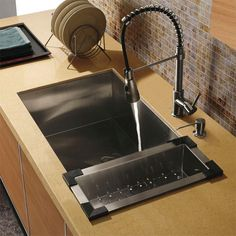 Bring modern style and elegance to any kitchen with this stainless steel kitchen set from Vigo. Featuring a durable satin finish, this rust-proof sink designed to inhibit condensation on the underside