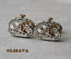 Watch Movement Cufflinks  Steampunk Cufflinks . by Olisava on Etsy